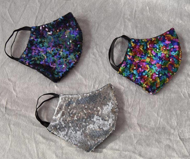 Sequin mask Sparkly face cover Rainbow face mask Washable sequinned face cover Reusable adult mask Silver mask