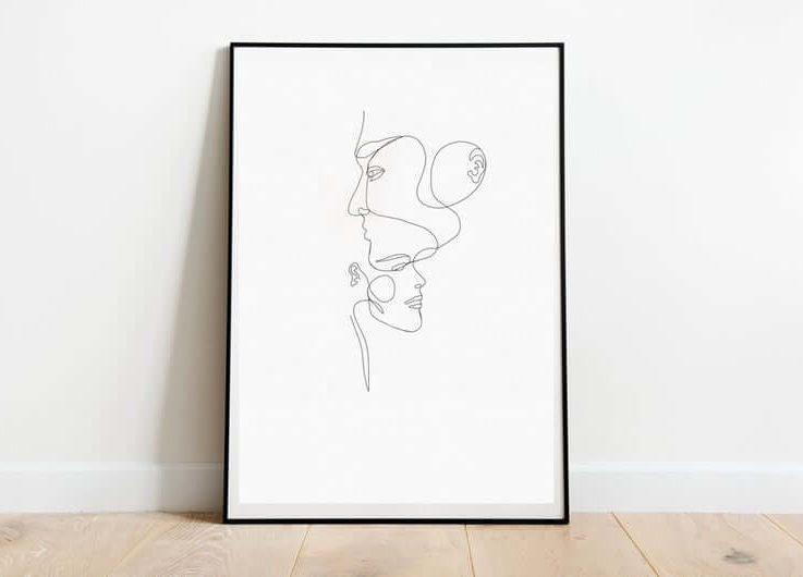 Single Line Wall Art, Abstract faces, Digital Download, Minimalist Decor, Wall Art, Continuous Line Decor, Gif