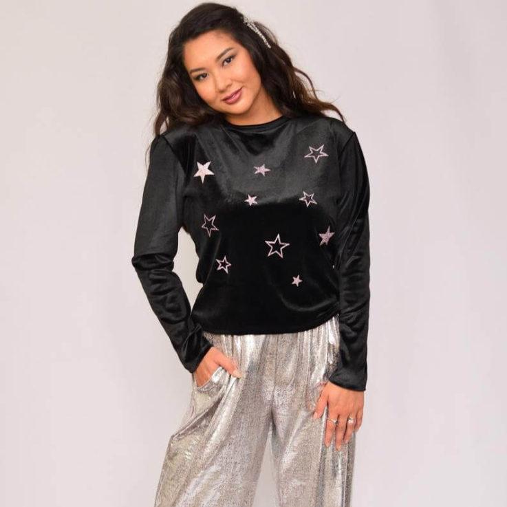 Star sweater Black velour sweater Glitter star top Velvet sweater Velour jumper with star print Black silver top Soft velour top Celestial