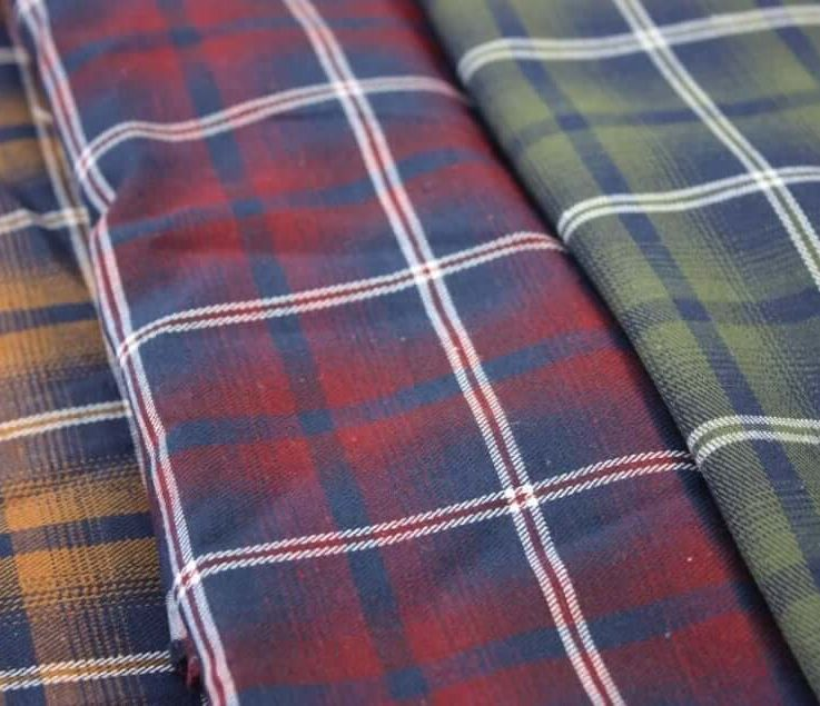 TartanPlaid Brushed Polycotton Forest and Red fabric. By the half metre. Dressmaking, craft fabric.