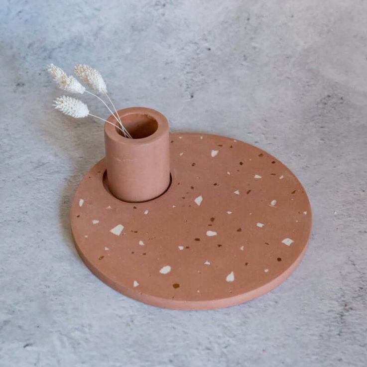 Terracotta terrazzo Jesmonite vanity plateplacematcentrepiece and matching pot