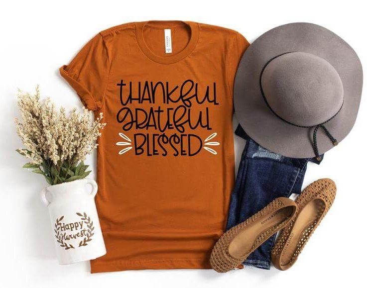 Thankful Grateful Blessed Shirt, Thanksgiving Shirt, Fall Shirt, Fall Teacher Shirt, Thankful Shirt, Thanksgiving Tee, Grateful Shirt