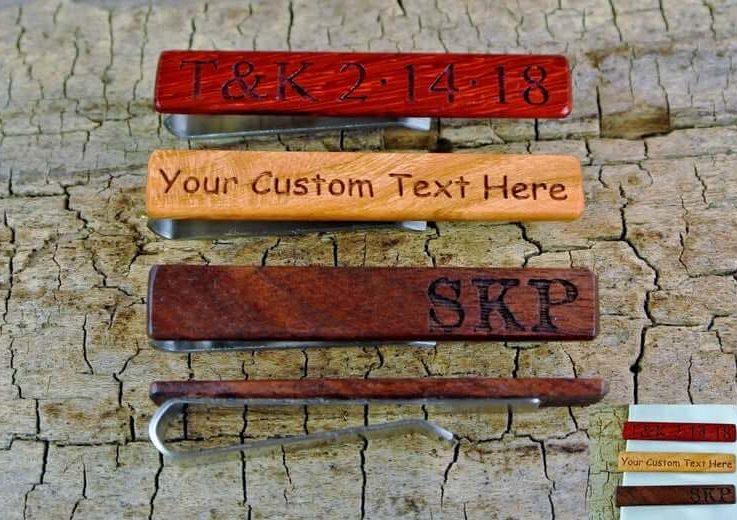 Tie Clip - One Wood Tie Bar Custom Engraved - (Choose Wood Type) - 2 14 long Tie Bar - Wedding Gift - Stainless Steel - Groomsmen Gift