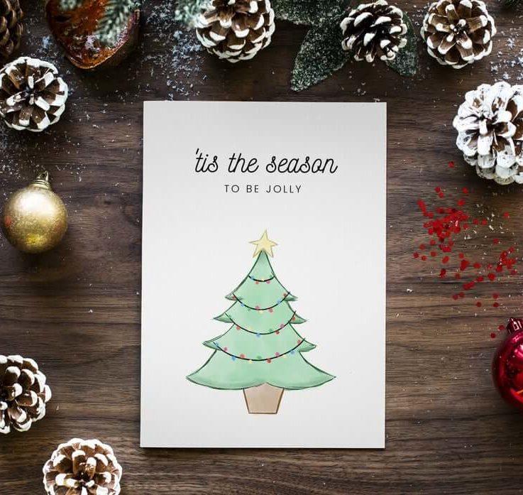 Tis the Season Christmas Card Greetings Card Festive Cards Seasons Greetings Card for Family