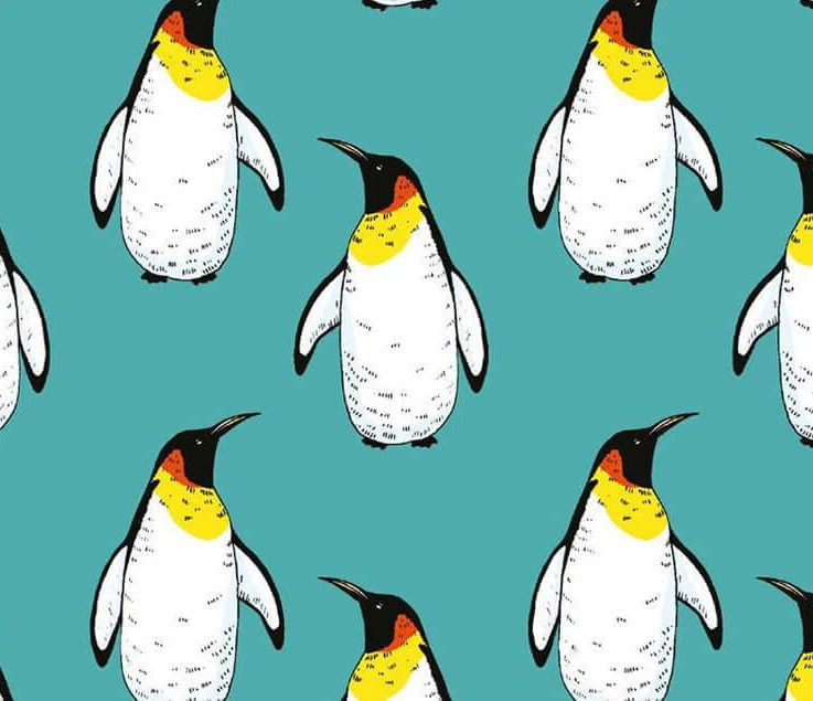 Turquoise Christmas Penguin cotton stretch jersey knit dress fabric. By the half metre.