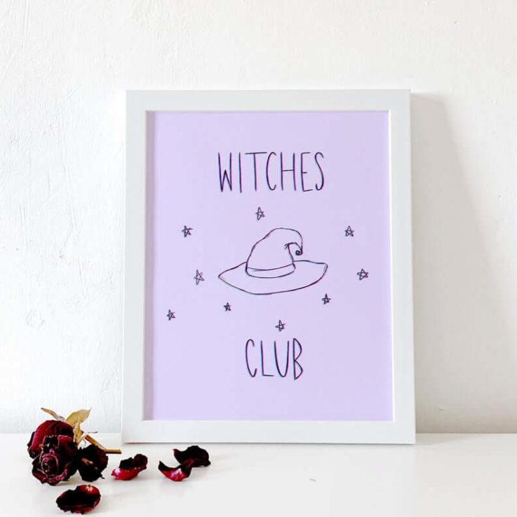 Witches Club Print Halloween Print Home Decor Wall Art Witches Print Halloween Decoration