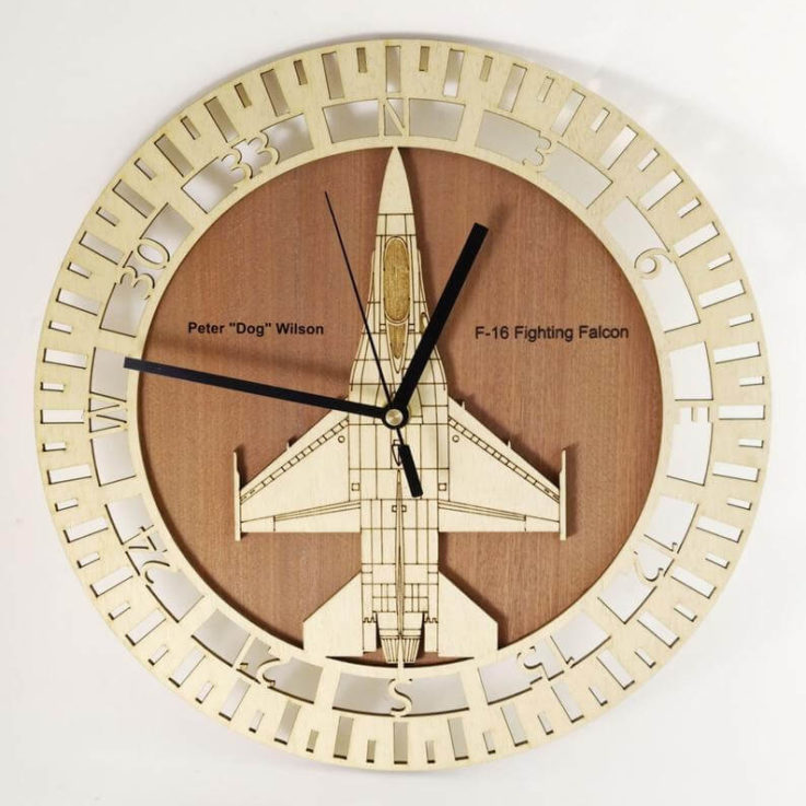 Wooden wall clock - F16 falcon - ideal for a pilot's gift - free text engraving service!
