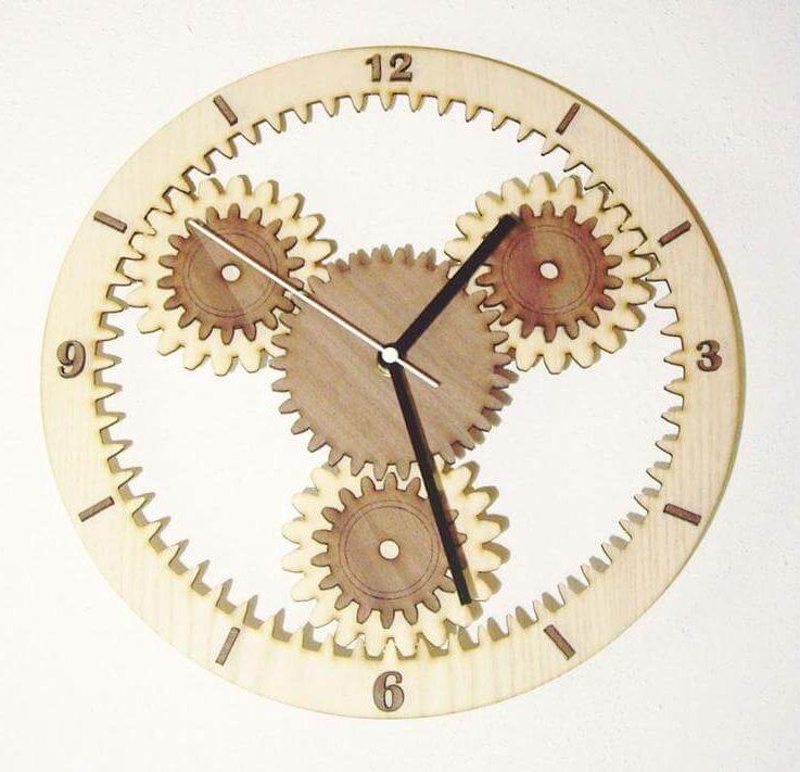 Wooden wall clock GEARS