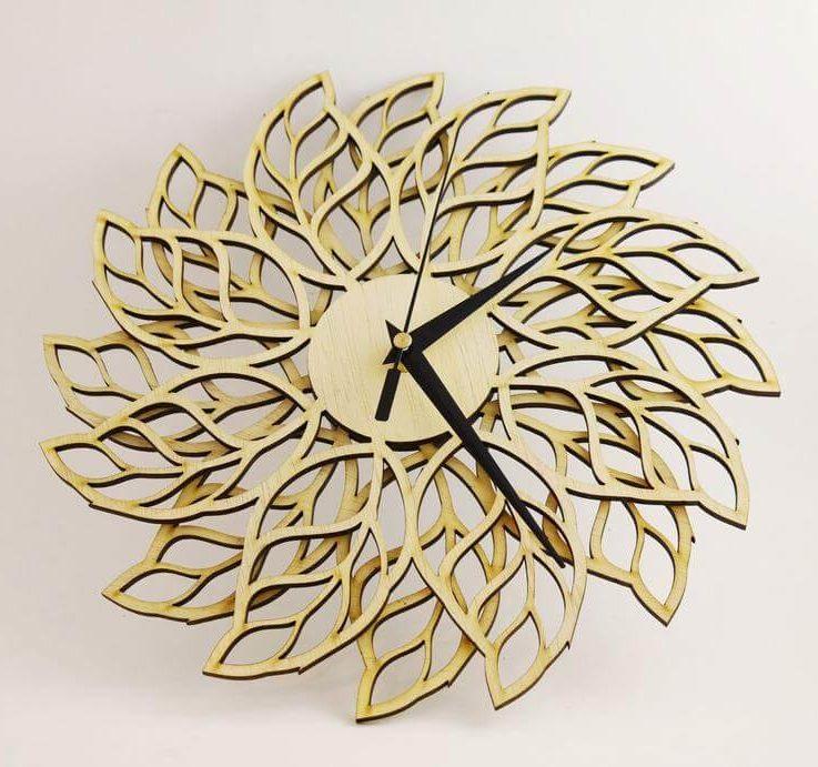 Wooden wall clock , modern clock, Decorative clock LEAFS