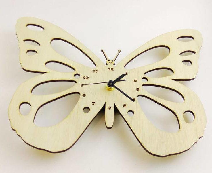 Wooden wall clock - nursery clock Baby Butterfly