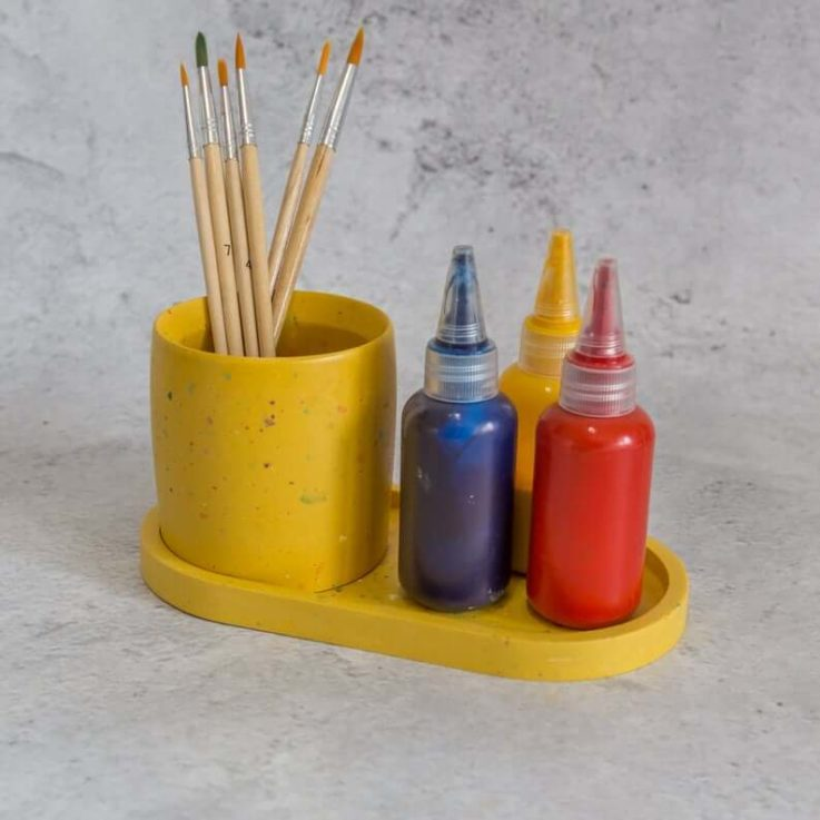 Yellow terrazzo Jesmonite pot and oblong vanity tray set hot & cold mix 01