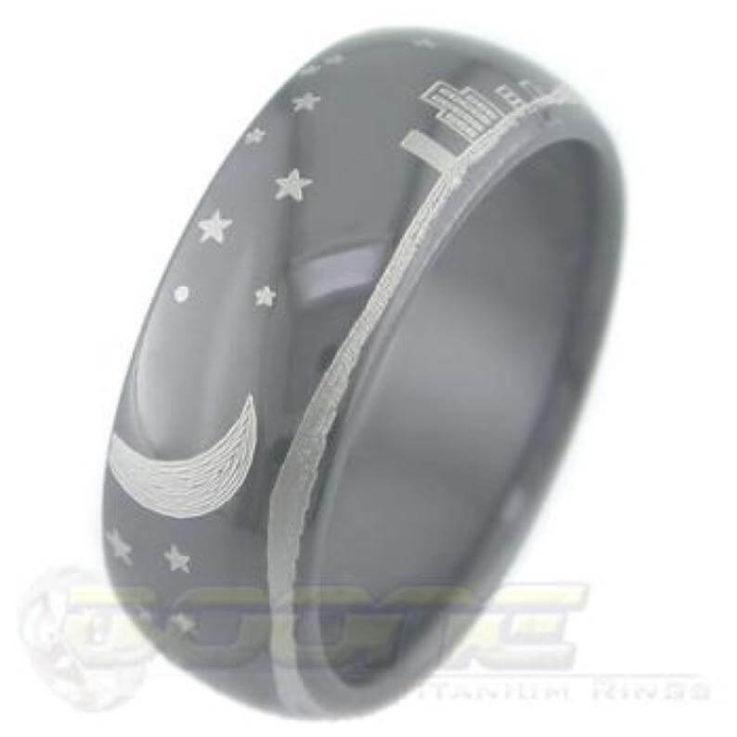 Black Zirconium Nightscape, Love You to the Moon and Back engraved Ring