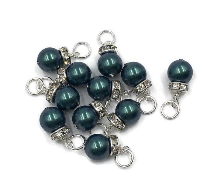 Christmas Charm, Swarovski Pearl, 8mm Crystal Pearl,Green Pearl, Iridescent Tahitian look, Christmas Ball Charm, Dangle Charm,Earring Dangle
