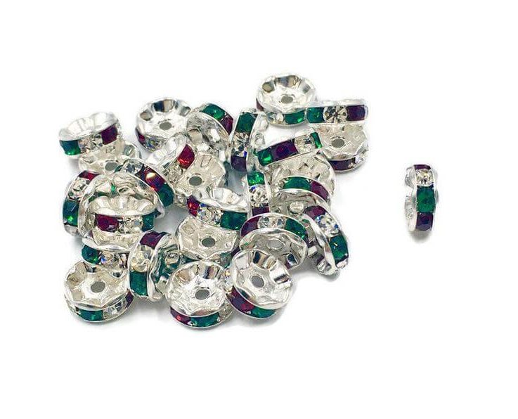 Christmas Rondelle, Swarovski Rondelle, Christmas spacer, 8mm Rondelle, Christmas Beads, Christmas Jewelry Findings, Silver PLATED Rondelle