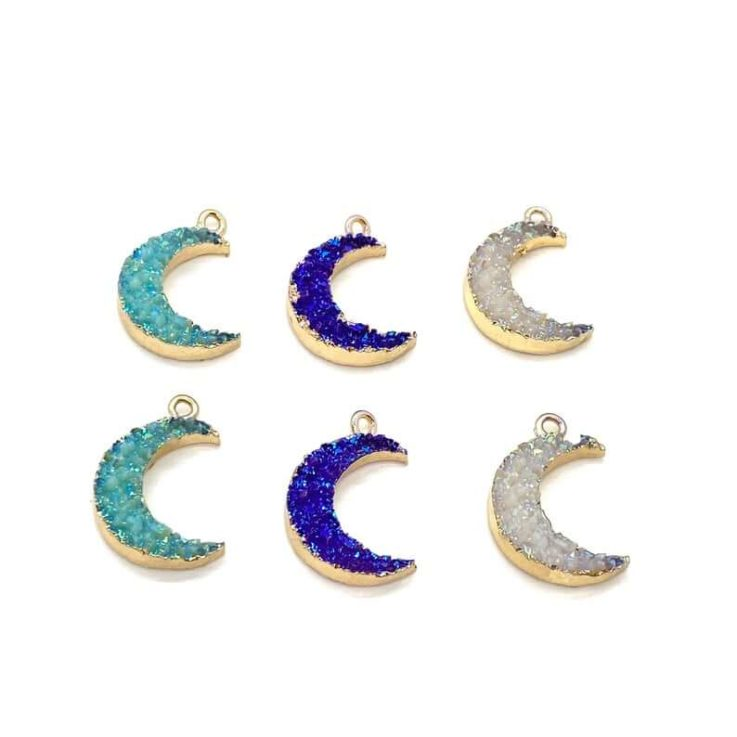 Druzy Resin Moon Charm Charms For Jewelry Making Moon Charm Bulk Charms Druzy Charms Earring Charms Bulk Moon Charms Bulk Moon Charms