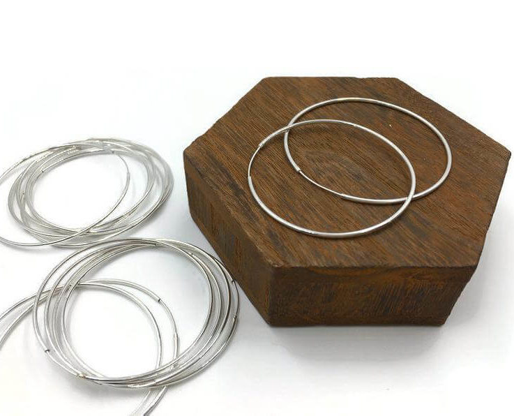 Endless Hoop, Sterling Silver, Hoop with Hinged Wire, 50mm Hoop Earring, 2 inch Hoop Earring, Hoop Earring, 1 Pair