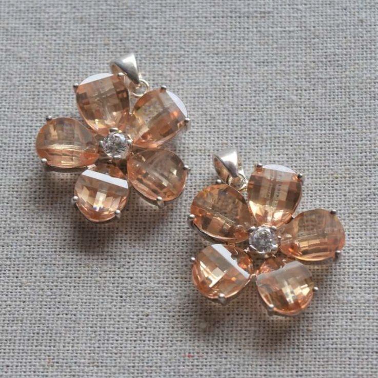 Flower Zircon Silver 925 Pendant
