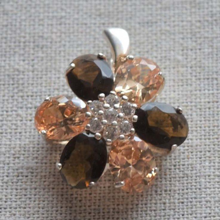 Flower Zircon Sterling Silver Pendant