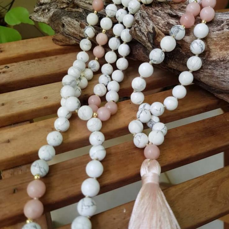 Howlite and Pink Opal mala 108 beads, Pink and White Japa Yoga Mala 8 mm bead size Hand knotted Tassel Necklace