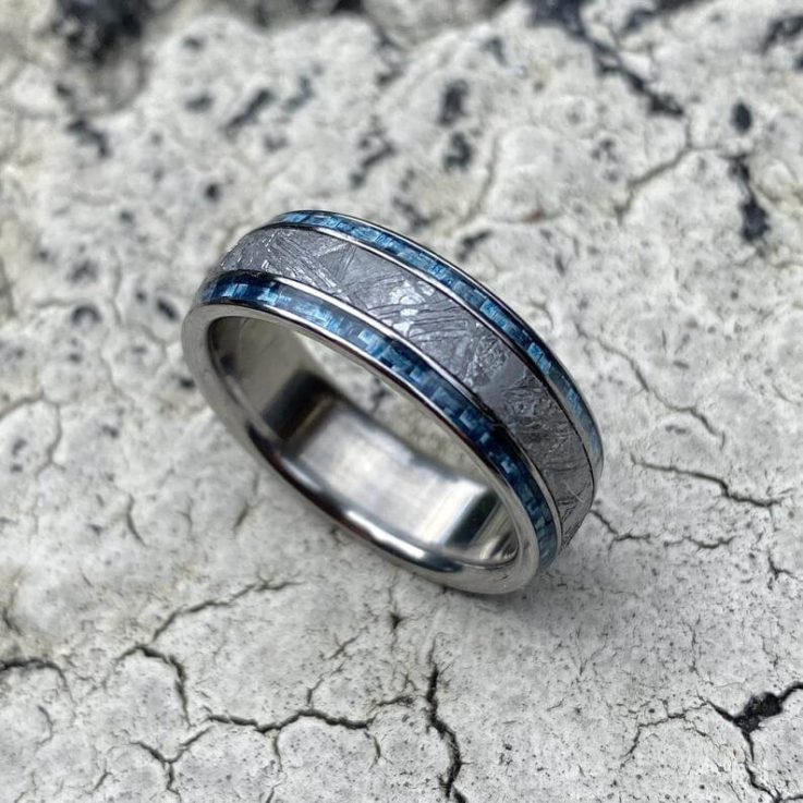 Meteorite Ring with Twin Blue Carbon Fiber