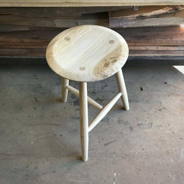 Modern farm stool in bleached white oak