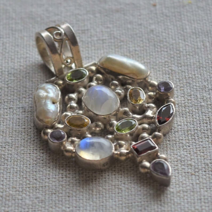Multi Gemstone Vintage Silver 925 Pendant
