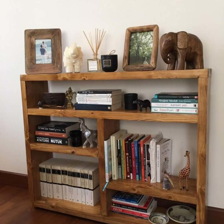 Natural Large Wooden Bookcase, Solid Wood, Farmhouse Bookshelves, Rustic Book stand.