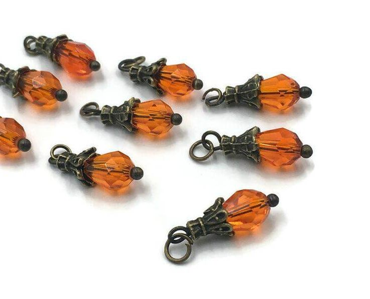 Orange Charm, Autumn, Fall, 3 pieces, Orange Pendant, Charm Bracelet, Earring Dangle, Dangle Charm, Earring Charm, Glass Dangle Charm