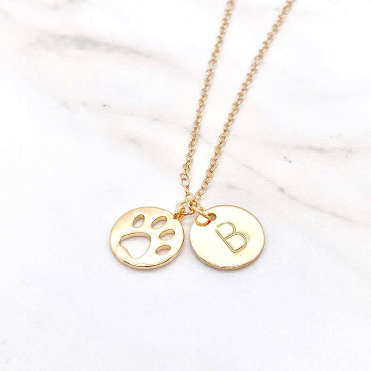 Paw Print Necklace With Pets Initial Necklace For Dog Moms With Pets Custom Necklace With Pets Monogram Jewelry Gift For Her