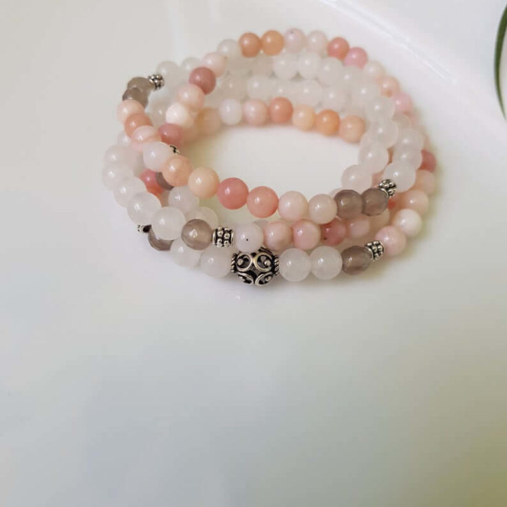 Pink Opal and Moonstone Wrap bracelet 108 beads, Wrist Mala for Her