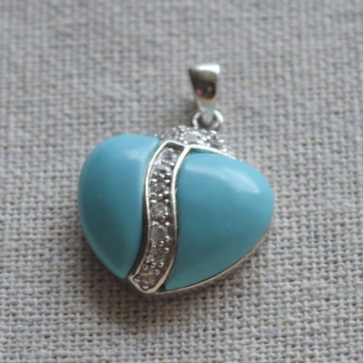 Reconstructed Turquoise Silver 925 Pendant