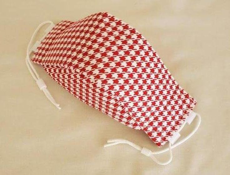 Red Houndstooth- Structured 3D Face Mask