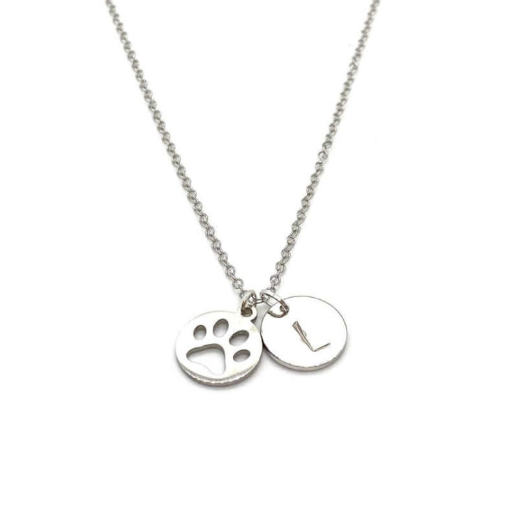 Silver Paw Print Necklace Custom Pet Initial Necklace Dog Mom Necklace Gift Cat Mom Necklace Gift Personalized Pet Monogram Necklace