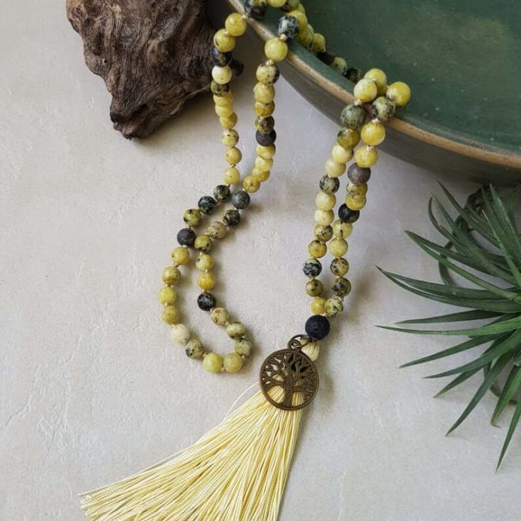 Yellow Serpentine mala, 108 beads, knotted meditation mala, yoga jewelry, long necklace with tassel, Tree of life charm, Gift for Her