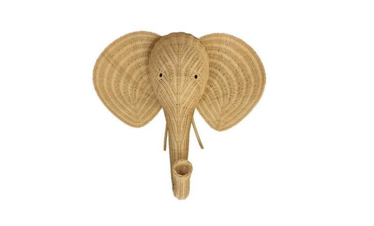 Authentic Handmade Rattan Wall Mounted Elephant Head for Baby Nursery, Bedroom or Living Room Decoration by Bambees Collection