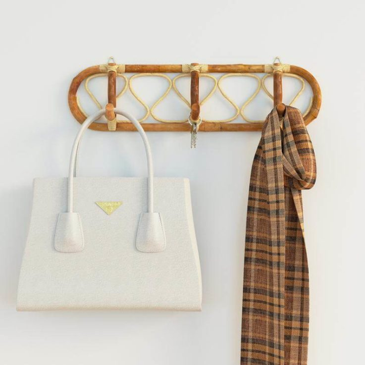 Authentic Handmade Rattan Wall Mounted Hanger Hooks for Clothes, Coats, Hats Storage Organiser
