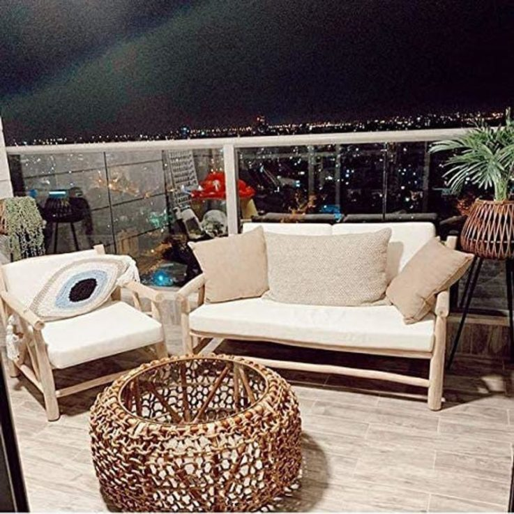 Authentic Handmade Wood and Rope Round Coffee Side Table for Indoor Outdoor Use