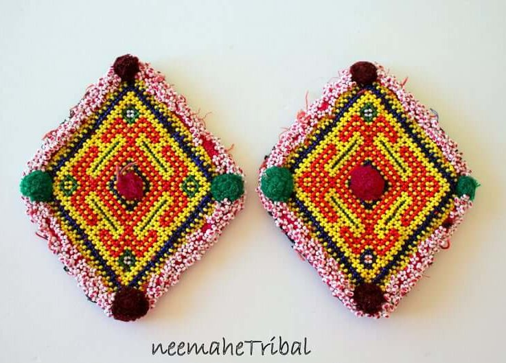 Big Yellow Beaded Medaillons, 1 Pair of Rhomboid Vintage Handmade Kuchi Tribal Beaded Medallions, Tribal Fusion Costume Components