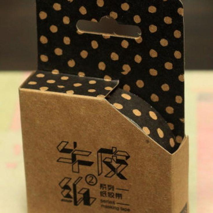 Black and Kraft Polka Dot Washi Tape