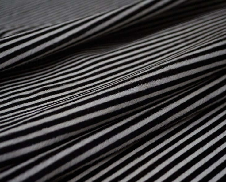 Black and White Striped Cowhide Leather Sheets Black and White Striped Hair on Hide Striped Cowhide Leather Quarter Hide & Half Hide
