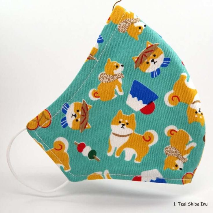 Cartoon Shiba Inu Pattern Face Mask (100% COTTON)