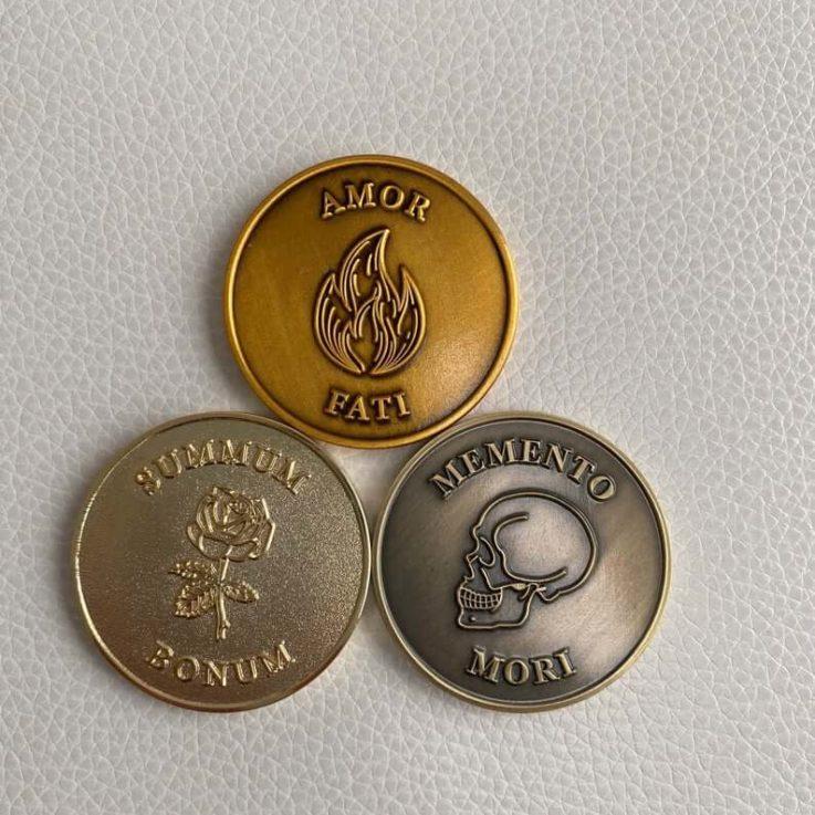 Complete Stoic Challenge Coin Set - Memento Mori Coin, Amor Fati Coin, Summum Bonum Coin