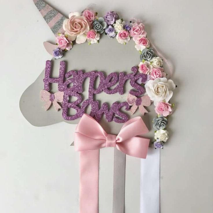 Custom made floral unicorn bow holder nursery decor girls room decor