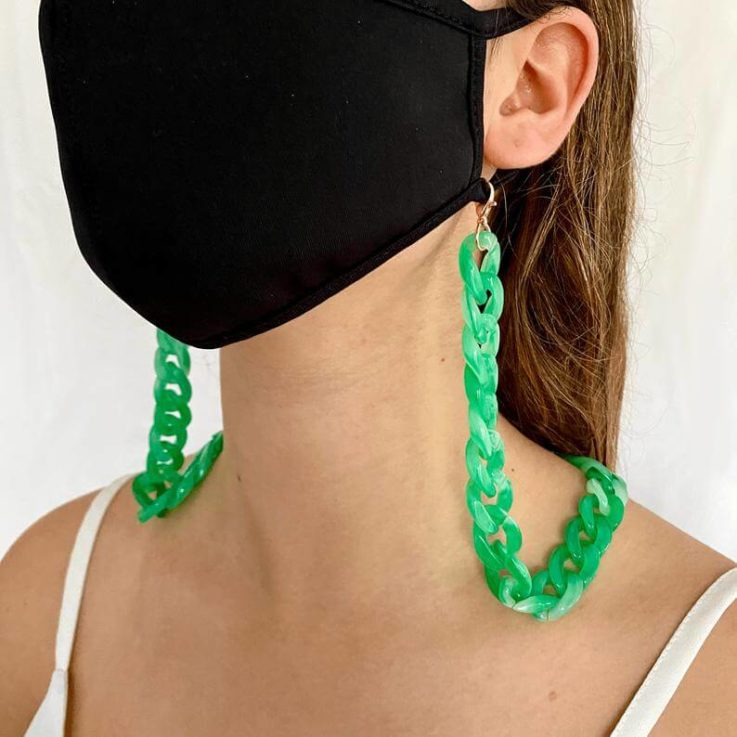 Designer Green Acrylic Mask Chain