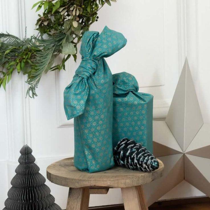 FabRap Jade Single Sided Reusable gift wrapEco gift wrapFuroshikiNachaltig Geschenkverpakung aus stoff