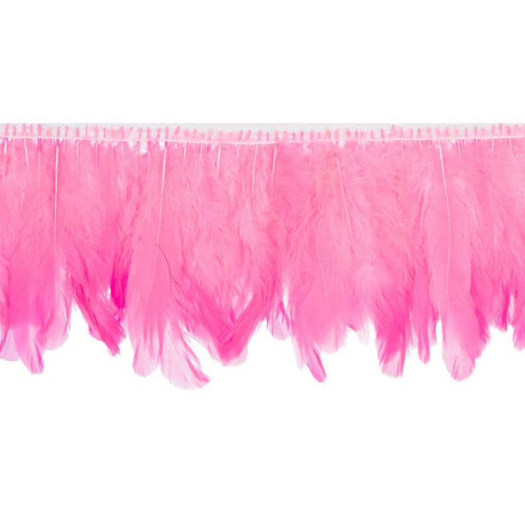Fluorescent Pink Handmade Goose Duck Feather Trim Fringe