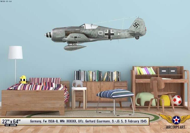 Focke-Wulf Fw190A-8 Airplane Profile Wall Art - Plane Decal WWII Boys Nursery Room Pilot Gift Print Decor