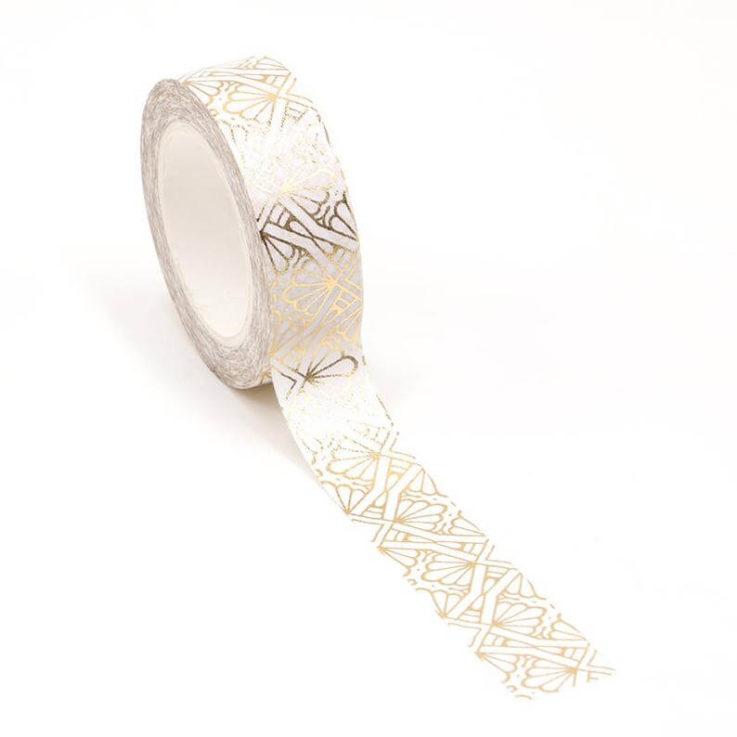 Gold Fan Pattern Washi Masking Tape, Decorative Pattern for Scrapbooking, Journaling, or Planning
