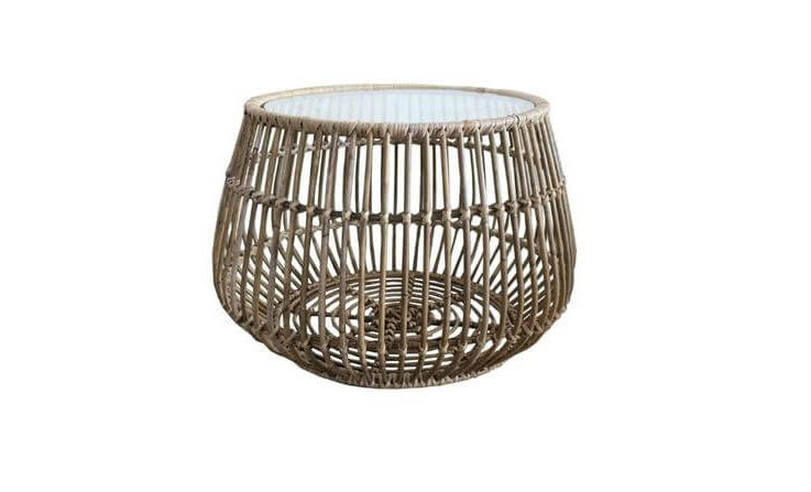 Handmade Woven Rattan Round Coffee Side Table 63cm for Outdoor or Indoor Living Room Includes Protective Glass Top