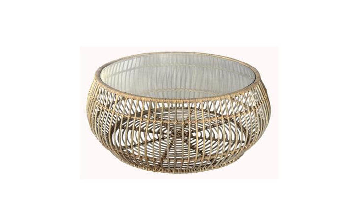 Handmade Woven Round Rattan Coffee Side Table 97cm Width for Outdoor or Indoor Living Room Includes Protective Glass Top